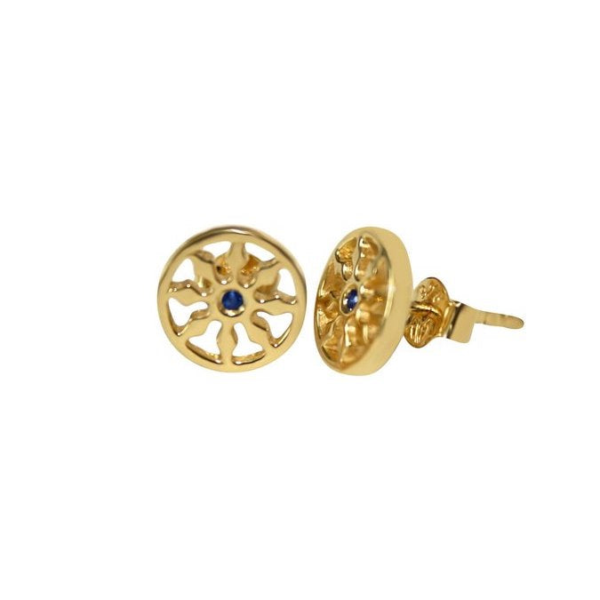 Gold Dharma Stud Earrings with genuine sapphire