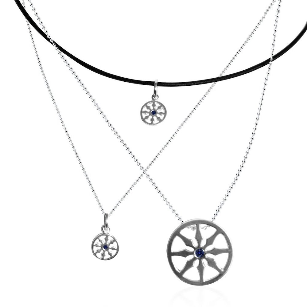 Sterling Silver Dharma VIII single sapphire wheel choker necklace