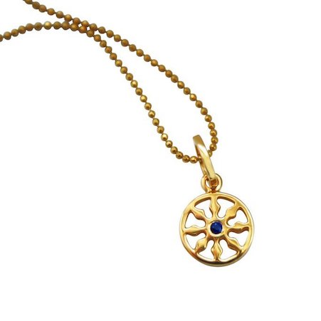 Dharma Gold single sapphire mini wheel necklace on beaded chain