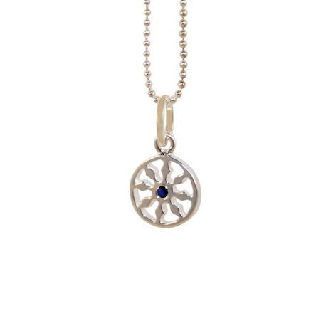 Sterling Silver Dharma VIII mini wheel single sapphire Yogi Jewelry