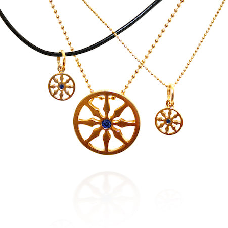 Dharma viii petite wheel single sapphire necklace goddaughters buddhist jewelry dharma viii wheel gold with sapphire aloadofball Gallery