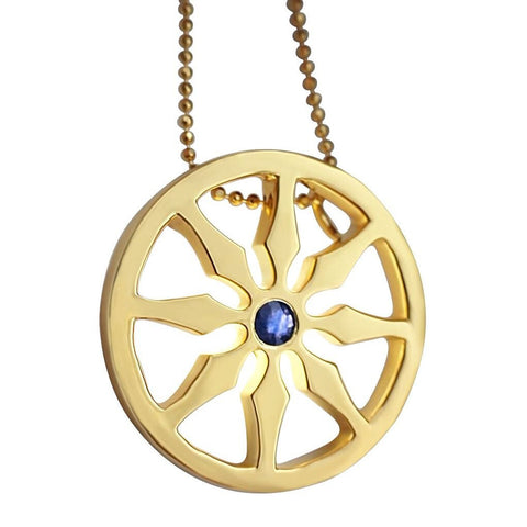 Gold Dharma VIII Wheel Necklace Single Stone sapphire