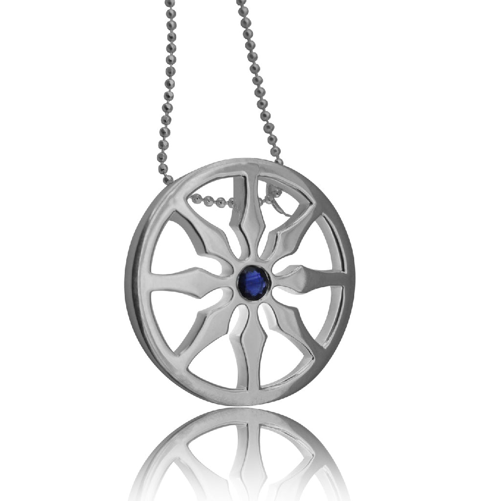 Sterling Silver Dharma Wheel Necklace Single Genuine Sapphire Necklace with beaded chain for zen