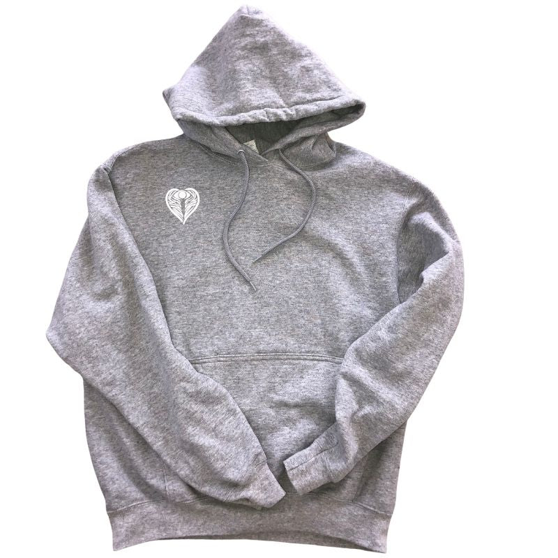 Angel on my Shoulder oversized grey hoodie to Protect your Peace by Goddaughters Wearable Art for the Soul