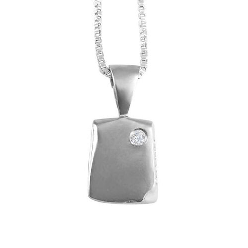 Sterling Silver with Rhodium Odin Petite New Beginning Necklace with sterling silver box chain