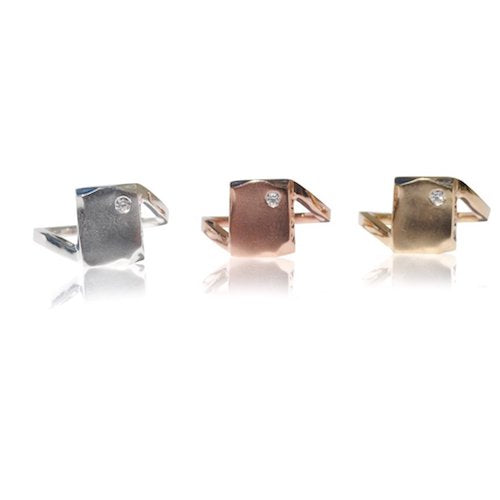 Sterling Silver with Rhodium Solid Rose Gold Solid Yellow gold Odin Petite Ring