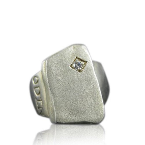 Odin Men's Ring Sterling Silver with Rhodium and Diamond