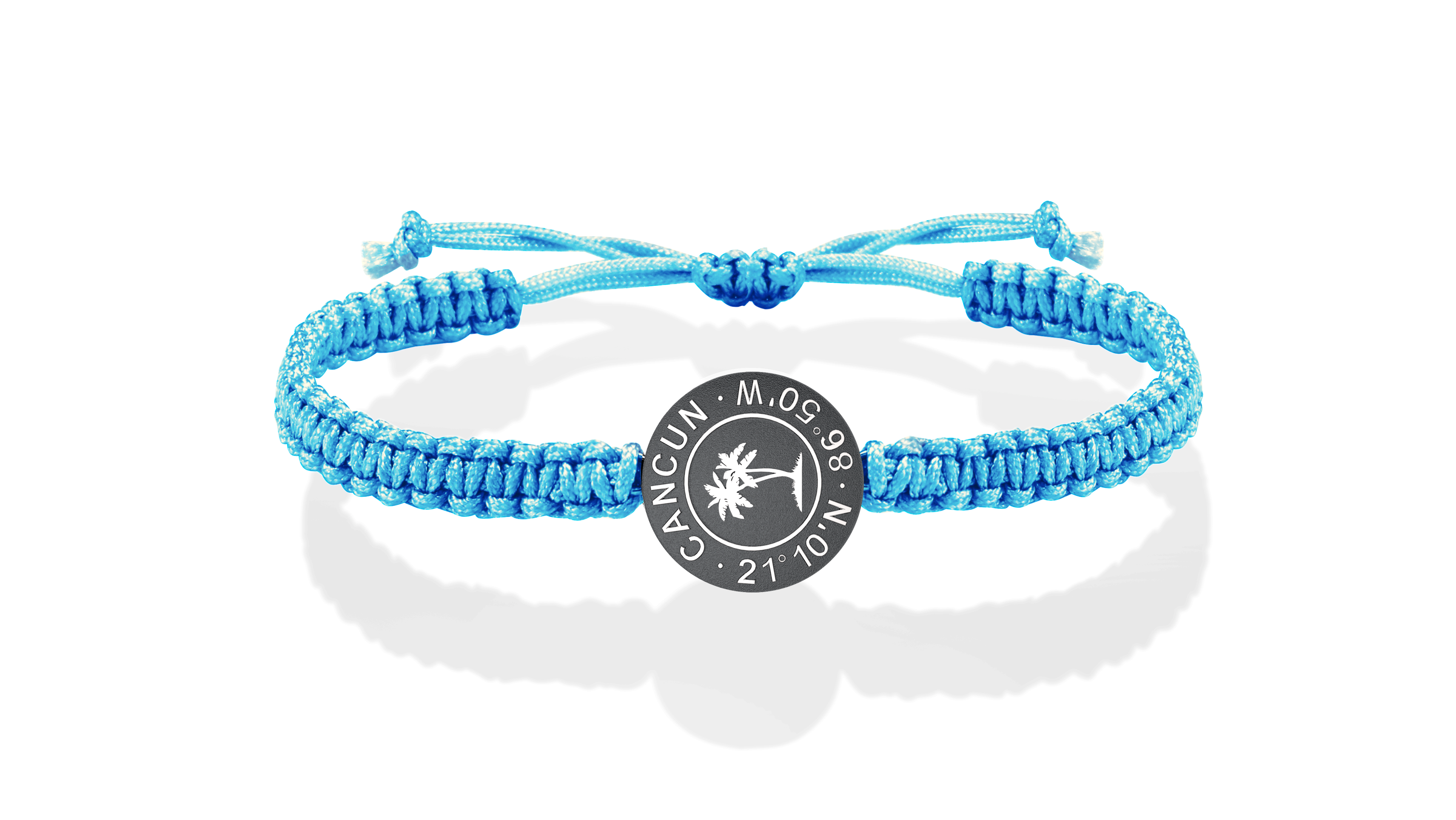Cancun Makramee Münz Armband in Silber