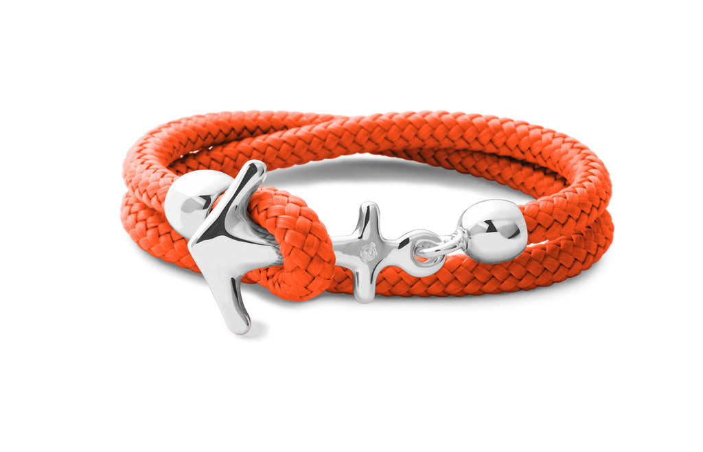 Silbernes Anker Armband in Grand Orange
