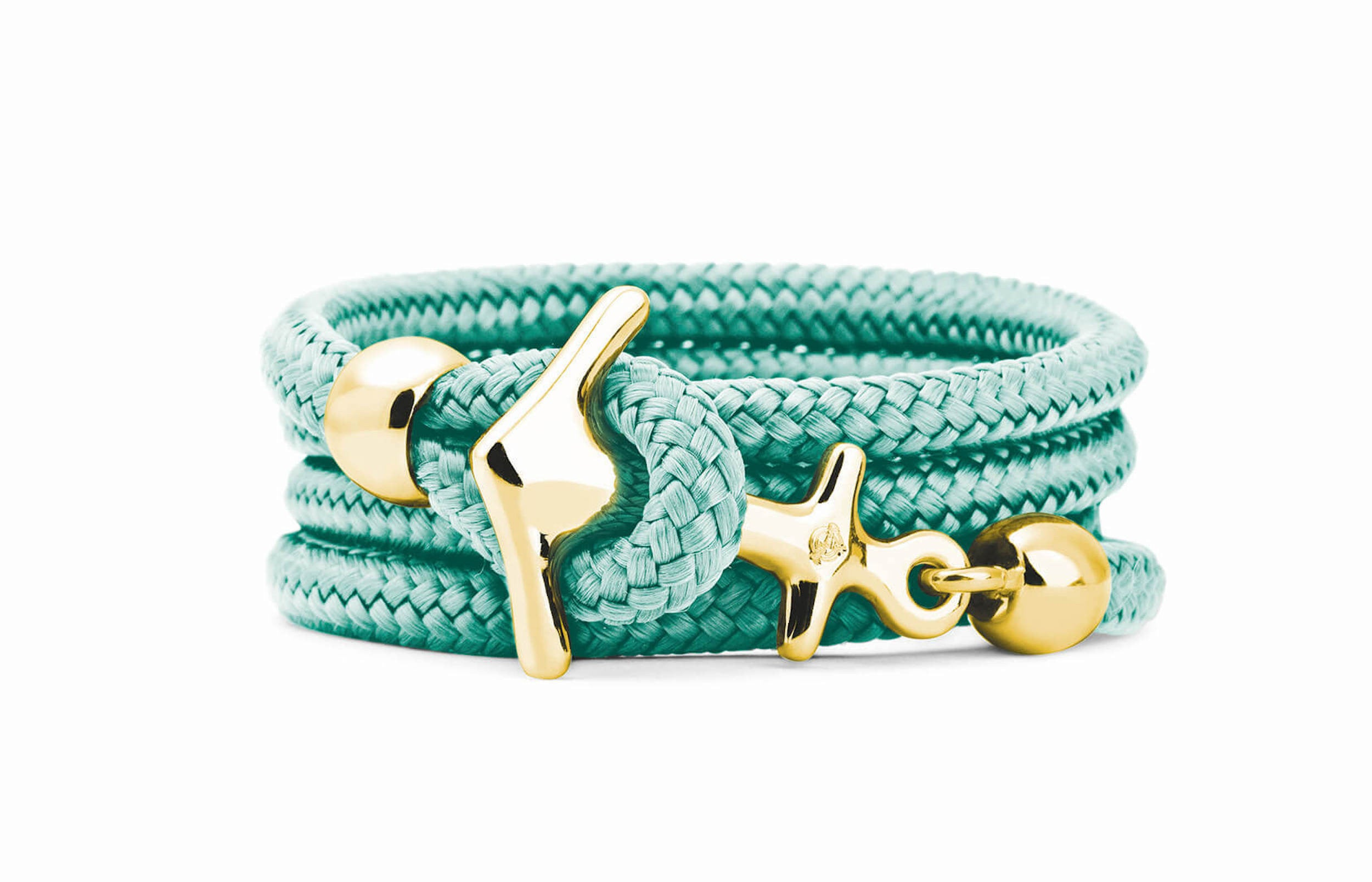 Gelbgoldenes Anker Armband in Bora Mint