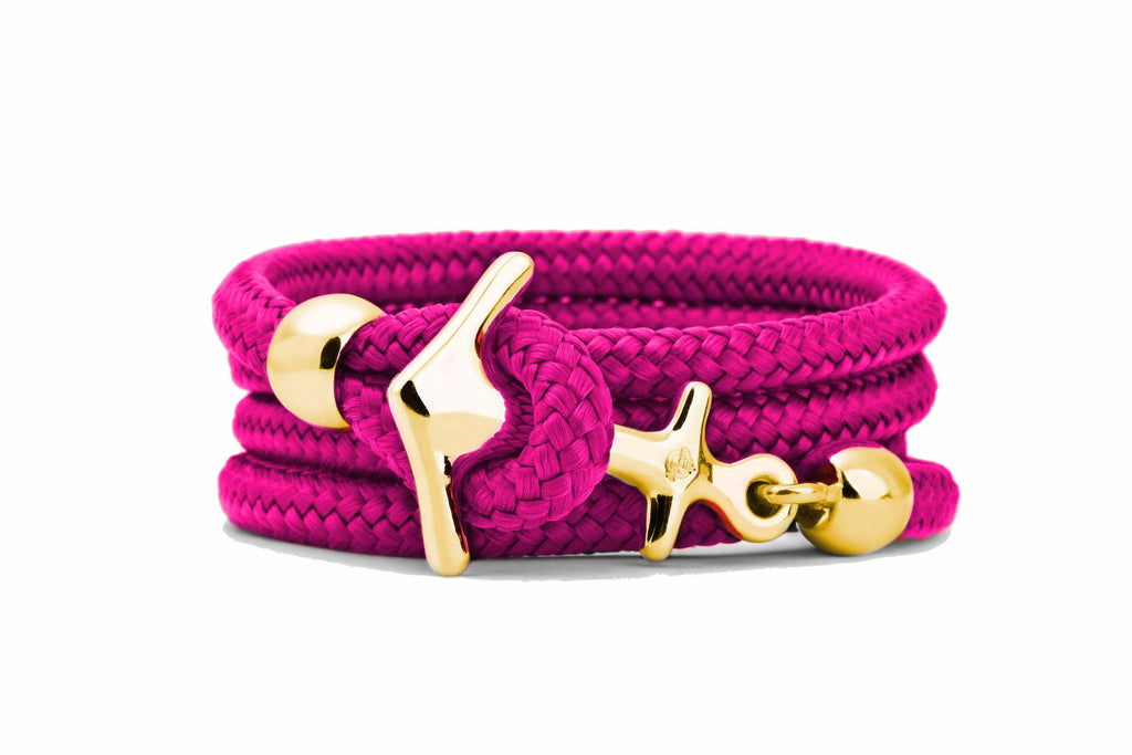 Goldenes Anker Armband in Pink