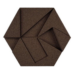 MURATTO CORK WALL DESIGN - ORGANIC BLOCKS - HEXAGON - AUBERGINE