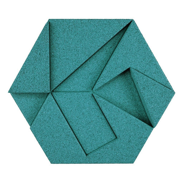 MURATTO CORK WALL DESIGN - ORGANIC BLOCKS - HEXAGON - TURQUOISE