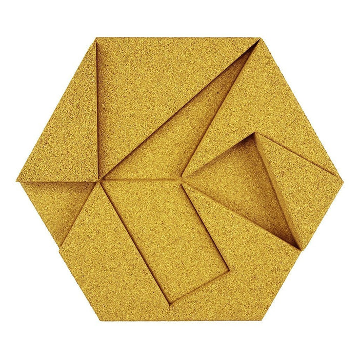 MURATTO CORK WALL DESIGN - ORGANIC BLOCKS - HEXAGON - YELLOW