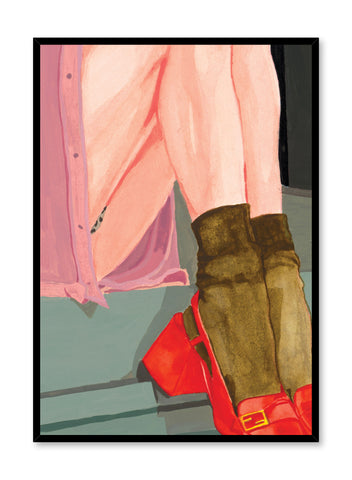 """""""The Waiting Girl"""" colourful poster of a woman sitting on stairs from the Venus collection"""