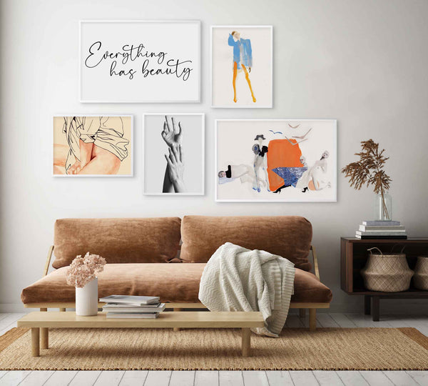 """This fashion-themed gallery wall was made using prints from the """"Venus"""" collection and the """"Amelie Hegardt"""" collaboration."""
