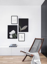 Scandinavian art print by Opposite Wall  with Peony White on Black art photo - Living room with a chair