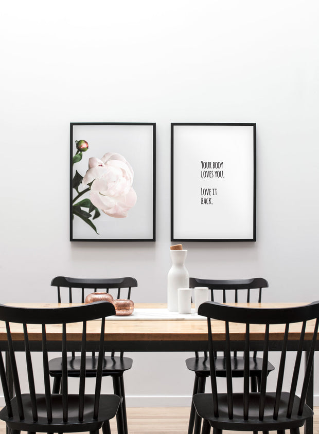 Modern minimalist poster by Opposite Wall with Blossom paeonia photography - Dining room