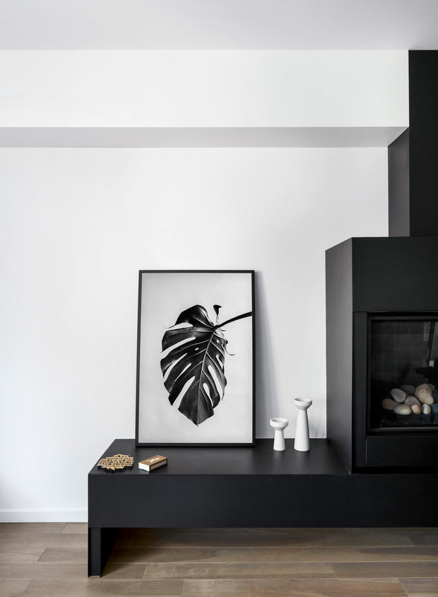 Scandinavian poster by Opposite Wall with black and white Monstera leaf photography - Fireplace
