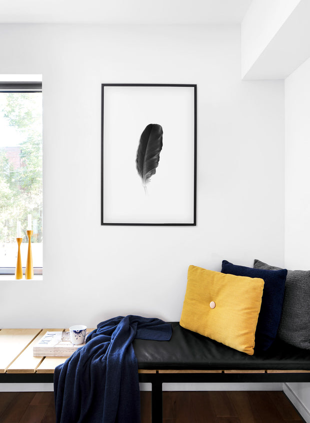 Minimalist art print by Opposite Wall with Fine Feather black and white photography - Cozy living room