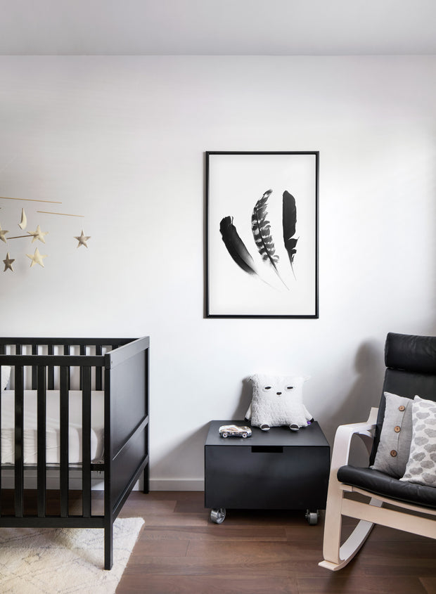 Minimalist black and white photography poster by Opposite Wall featuring a Chic Trio of feathers - Children's room