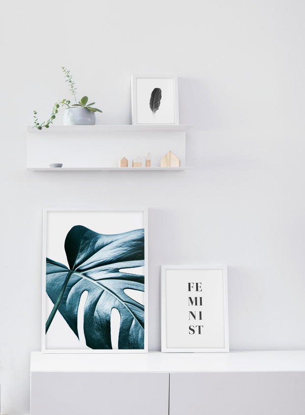 Scandinavian poster by Opposite Wall with monstera leaf - Nature's Glimmer - White living room