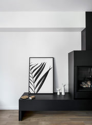 Minimalist Black and White Palm Photography Poster by Opposite Wall - Fireplace