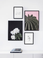 Scandinavian art print by Opposite Wall with trendy cactus photography - Living room bookshelf