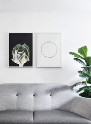 Scandinavian poster by Opposite Wall with Cabbage flower photography on black - Living room with a couch