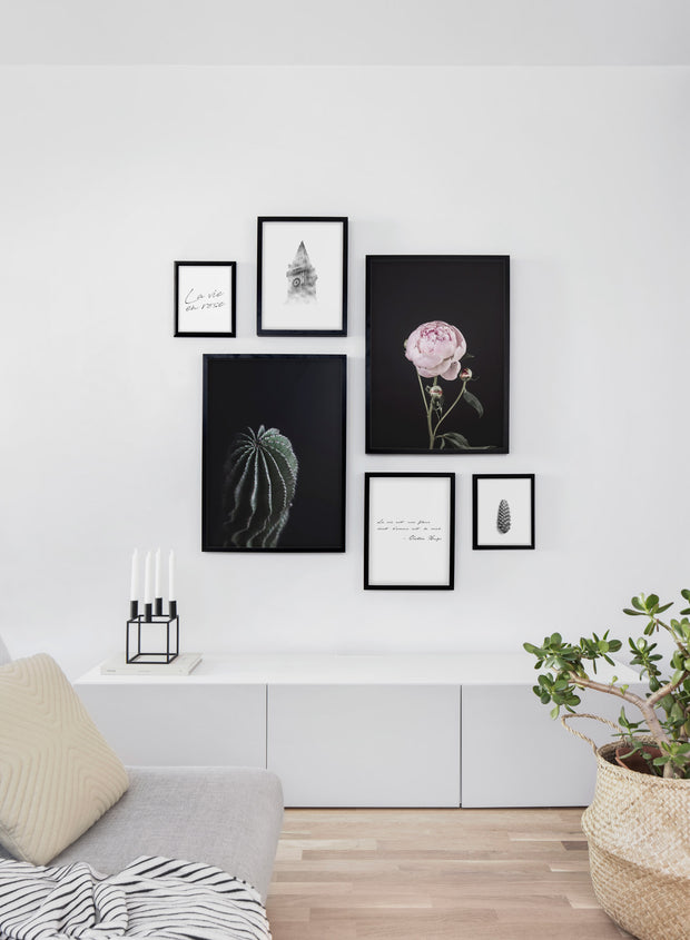 Scandinavian art print by Opposite Wall with with Perfection pink and black peony art photo- Living room wall gallery
