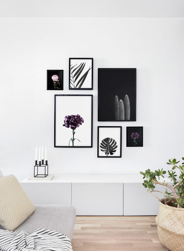 Scandinavian poster by Opposite Wall with trendy Deep Royal purple flower photography - Cozy living room