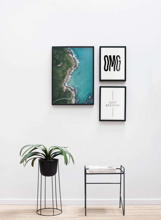 Modern minimalist poster by Opposite Wall with  Coast photography - Living room with a design flower pot