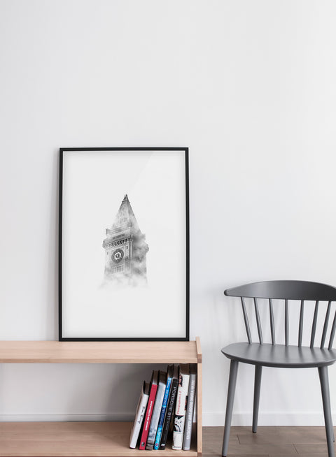 Modern minimalist art print by Opposite Wall with Six O' Clock art photo - Living room with a grey chair