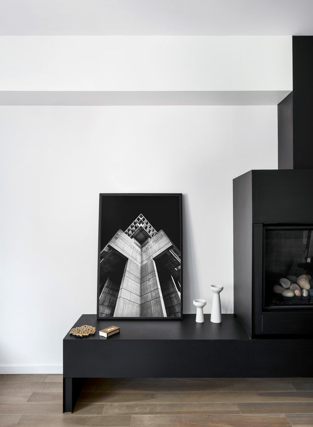 Modern minimalist poster by Opposite Wall with Black Out - Fireplace