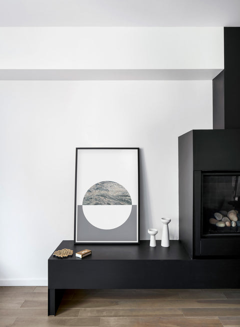 Scandinavian graphic art print by Opposite Wall with Cool Grey abstract design - Fireplace