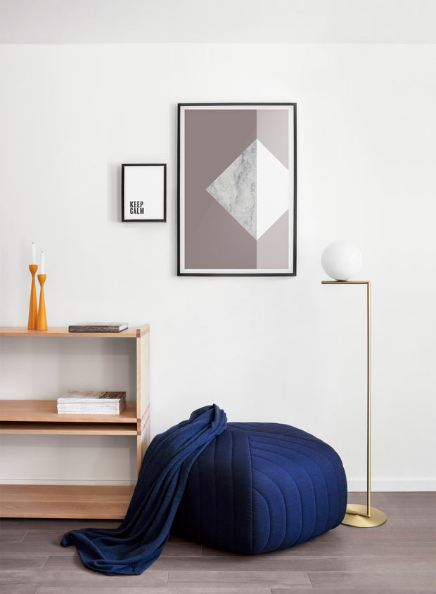 Modern minimalist poster by Opposite Wall with Hush violet and marble graphic design - Living room with a pouf
