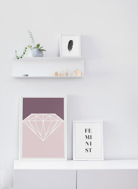 Scandinavian Diamond poster by Opposite Wall with trendy graphic design - White living room