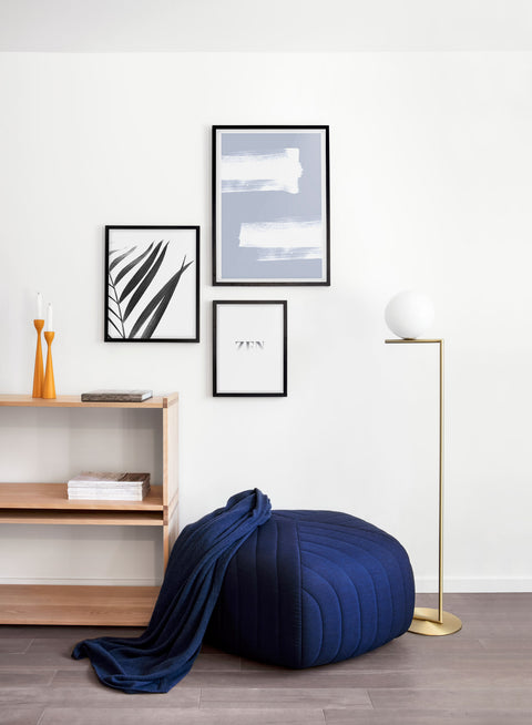 minimalist art print by Opposite Wall with trendy design - Living room with a pouf