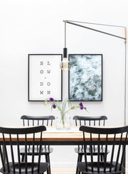 Modern minimalist art print by Opposite Wall with blue Swirl water photography - Dining room