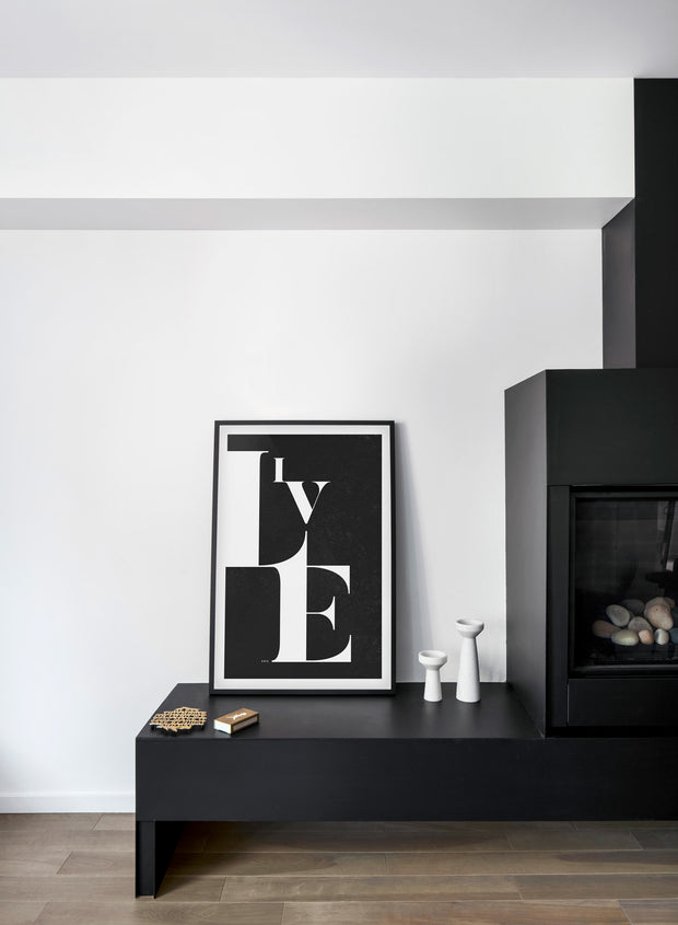 Scandinavian art print by Opposite Wall with trendy black and white Live graphic typo design - Fireplace