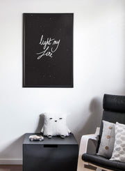 Scandinavian art print by Opposite Wall with trendy Life my Fire typography design - Nursery room