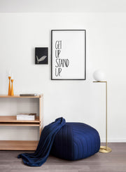 Scandinavian poster by Opposite Wall with trendy design black and white graphic Stand Up design - Living room pouf