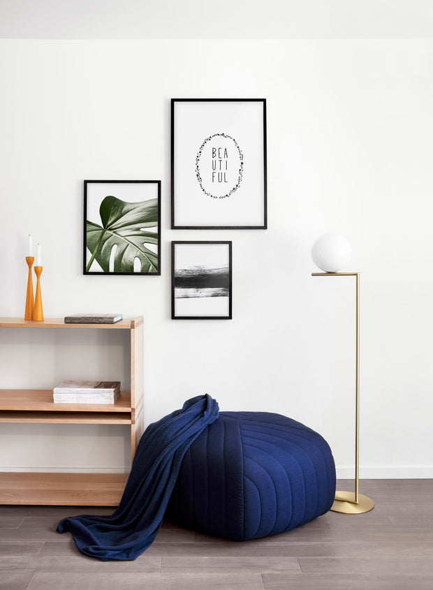Scandinavian art print by Opposite Wall with Widespread Wonder art photo of Monstera leaf - Living room with a pouf