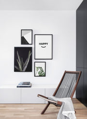 Modern minimalist poster by Opposite Wall with typography Happy graphic design - Living room with a chair