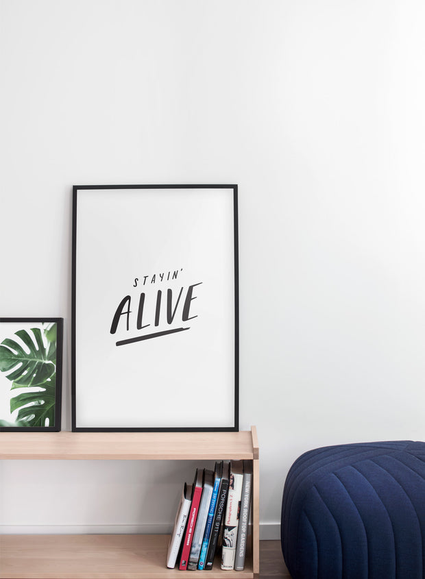 minimalist poster by Opposite Wall with Stayin' Alive hand-drawn graphic design - Living room pouf