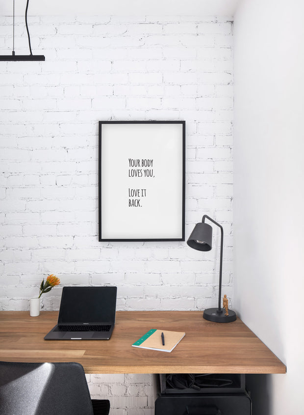 Scandinavian art print by Opposite Wall with graphic motivational Self Love quote design - Personal office