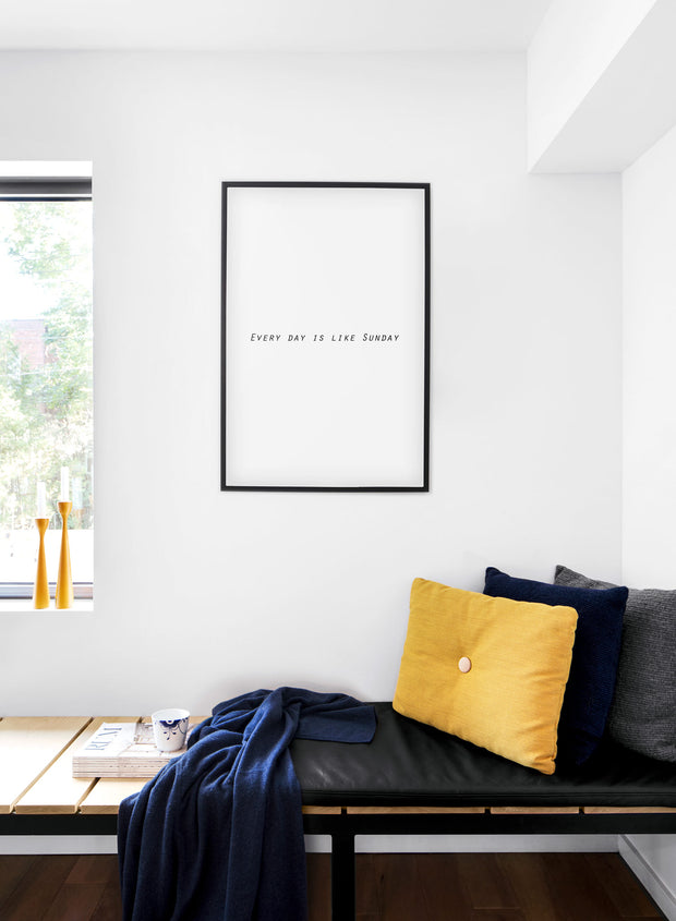 minimalist art print by Opposite Wall with graphic typo design Sunday - Cozy living room nook