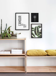Scandinavian poster by Opposite Wall with colorful Leafy art photo - Living room close-up on yellow cushions and a cactus