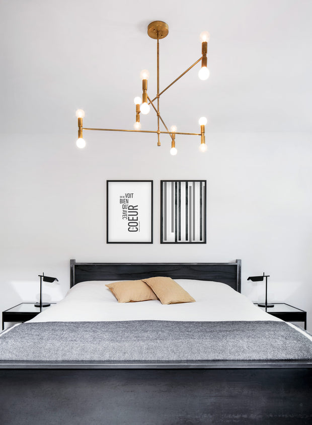 Scandinavian art print by Opposite Wall with Zoom Out black and white graphic textured lines design - Bedroom