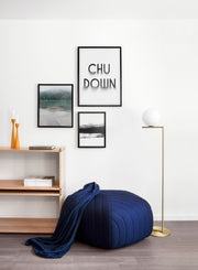 Minimalist graphic design poster by Opposite Wall with Chu Down typography - Living room pouf